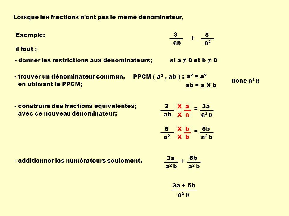 5b X a3a Lorsque les fractions nont pas le même dénominateur, Exemple:5 a2a2 3 ab + PPCM ( a 2, ab ) :- trouver un dénominateur commun, en utilisant le PPCM; - construire des fractions équivalentes; avec ce nouveau dénominateur; a 2 = a 2 ab = a X b donc a 2 b 5 a2a2 = a 2 b X b 3 ab = a 2 b X a - additionner les numérateurs seulement.