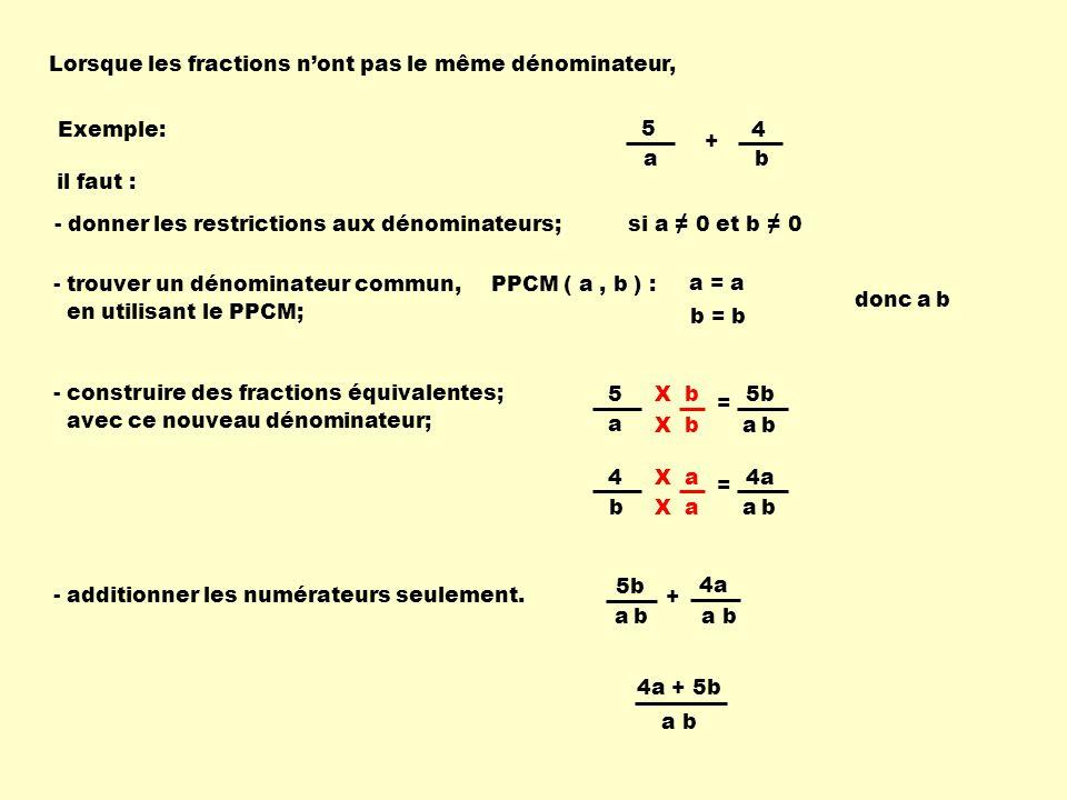 4a X b5b Lorsque les fractions nont pas le même dénominateur, Exemple:4 b 5 a + PPCM ( a, b ) :- trouver un dénominateur commun, en utilisant le PPCM; - construire des fractions équivalentes; avec ce nouveau dénominateur; a = a b = b donc a b 4 b = a ba b X a 5 a = a ba b X b - additionner les numérateurs seulement.