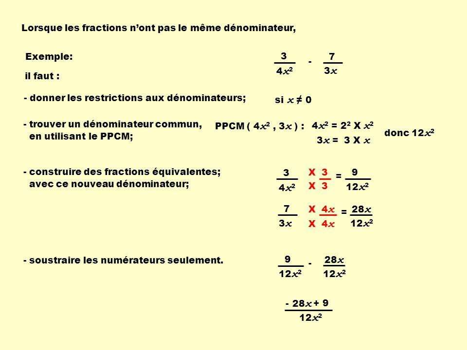 X ( x + 2 ) 3 ( x + 2 ) Lorsque les fractions nont pas le même dénominateur, PPCM ( ( x + 1 ), ( x + 2 ) ) : - trouver un dénominateur commun, en utilisant le PPCM; - construire des fractions équivalentes; avec ce nouveau dénominateur; ( x + 1 ) ( x + 2 ) = X ( x + 2 ) - additionner les numérateurs seulement.