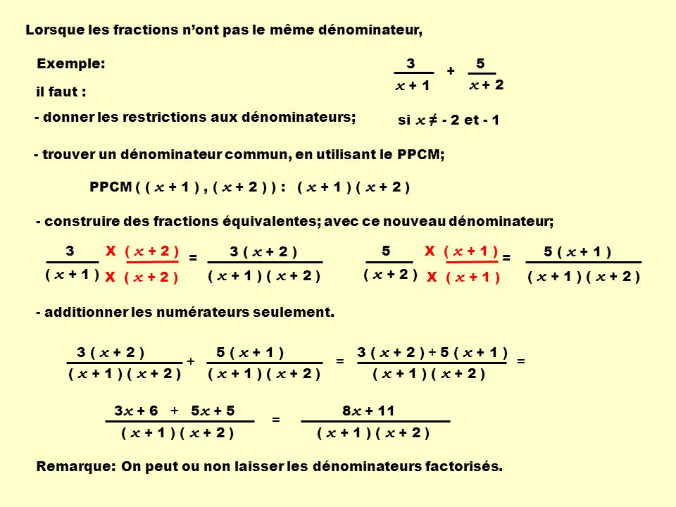 X ( x + 3 ) Lorsque les fractions nont pas le même dénominateur, PPCM ( ( x - 3 ), ( x + 3 ) ) : - trouver un dénominateur commun, en utilisant le PPCM; - construire des fractions équivalentes; avec ce nouveau dénominateur; ( x - 3 ) ( x + 3 ) = X ( x + 3 ) - additionner les numérateurs seulement.