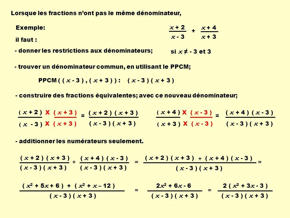 X ( x + 3 ) Lorsque les fractions nont pas le même dénominateur, PPCM ( ( x - 3 ), ( x + 3 ) ) : - trouver un dénominateur commun, en utilisant le PPC