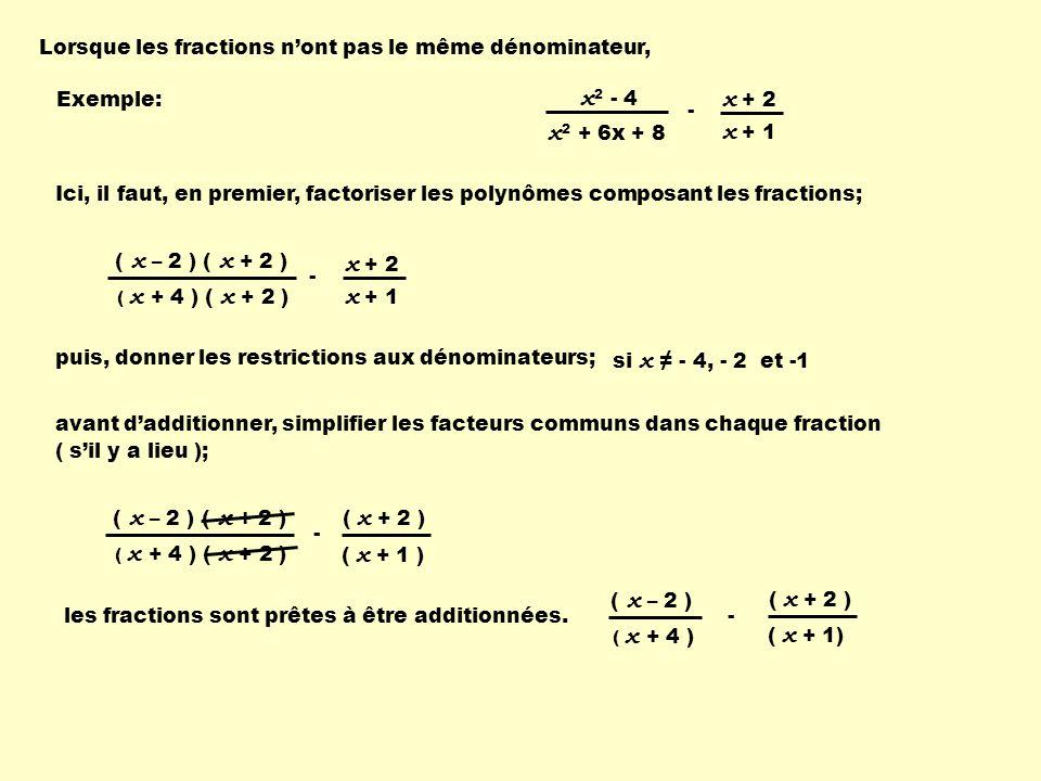 Lorsque les fractions nont pas le même dénominateur, Exemple: x 2 - 4 - x + 1 x + 2 x 2 + 6x + 8 Ici, il faut, en premier, factoriser les polynômes composant les fractions; ( x + 4 ) ( x + 2 ) ( x – 2 ) - x + 1 x + 2 ( x + 2 ) puis, donner les restrictions aux dénominateurs; si x - 4, - 2 et -1 ( x + 2 ) ( x + 4 ) ( x + 2 ) ( x – 2 ) - ( x + 1 ) ( x + 2 ) avant dadditionner, simplifier les facteurs communs dans chaque fraction ( sil y a lieu ); les fractions sont prêtes à être additionnées.