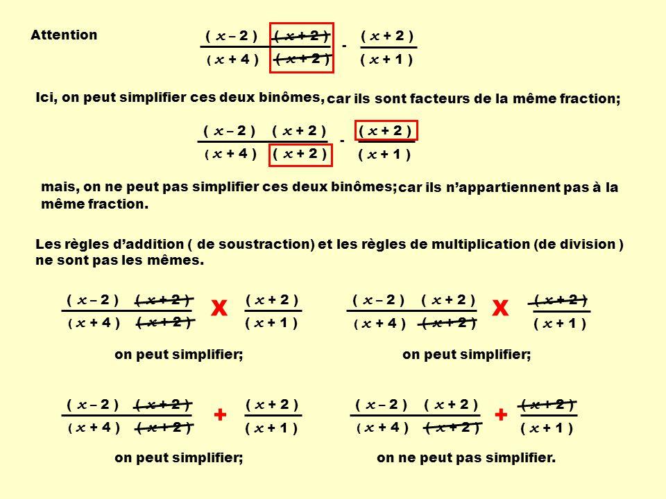 ( x + 2 ) ( x + 4 ) ( x – 2 ) ( x + 1 ) + Les règles daddition ( de soustraction) et les règles de multiplication (de division ) ne sont pas les mêmes