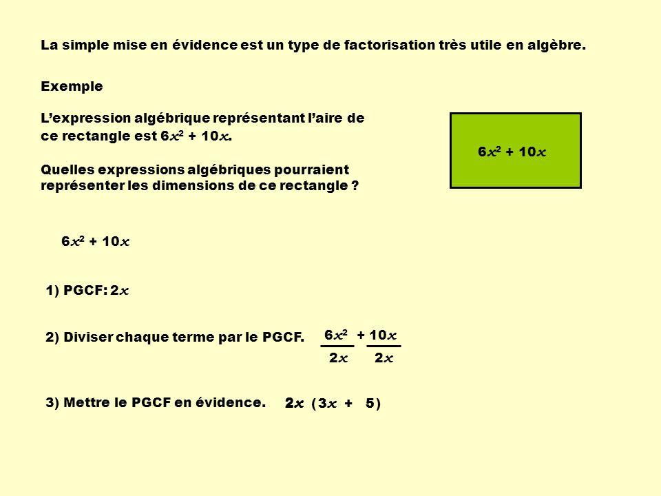 La simple mise en évidence est un type de factorisation très utile en algèbre. Exemple Lexpression algébrique représentant laire de ce rectangle est 6