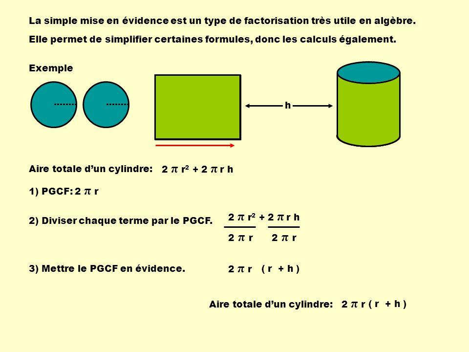 La simple mise en évidence est un type de factorisation très utile en algèbre.