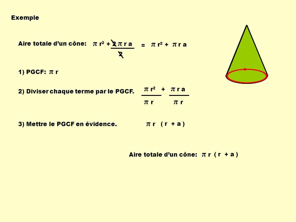 Exemple Aire totale dun cône: π r 1) PGCF: π r 2) Diviser chaque terme par le PGCF. 3) Mettre le PGCF en évidence. π r 2 + π r a π rπ r π r ( r + a )
