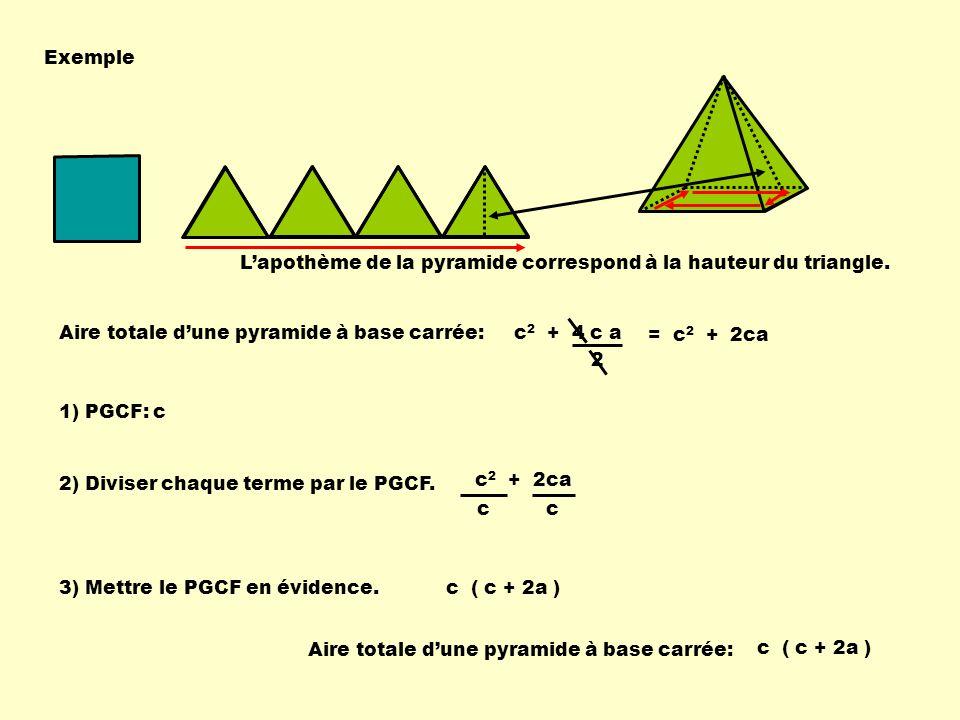 c 2 + 2ca Exemple Aire totale dune pyramide à base carrée: c 1) PGCF: c 2) Diviser chaque terme par le PGCF. 3) Mettre le PGCF en évidence. c c ( c +