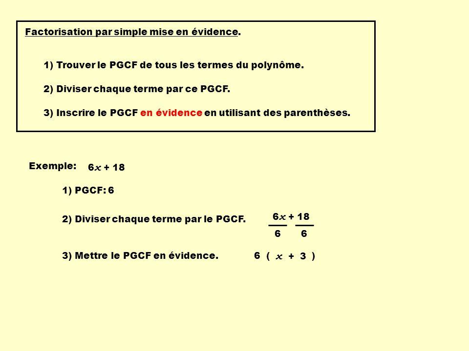 Factorisation par simple mise en évidence. 1) Trouver le PGCF de tous les termes du polynôme. Exemple: 6 x + 18 2) Diviser chaque terme par ce PGCF. 3