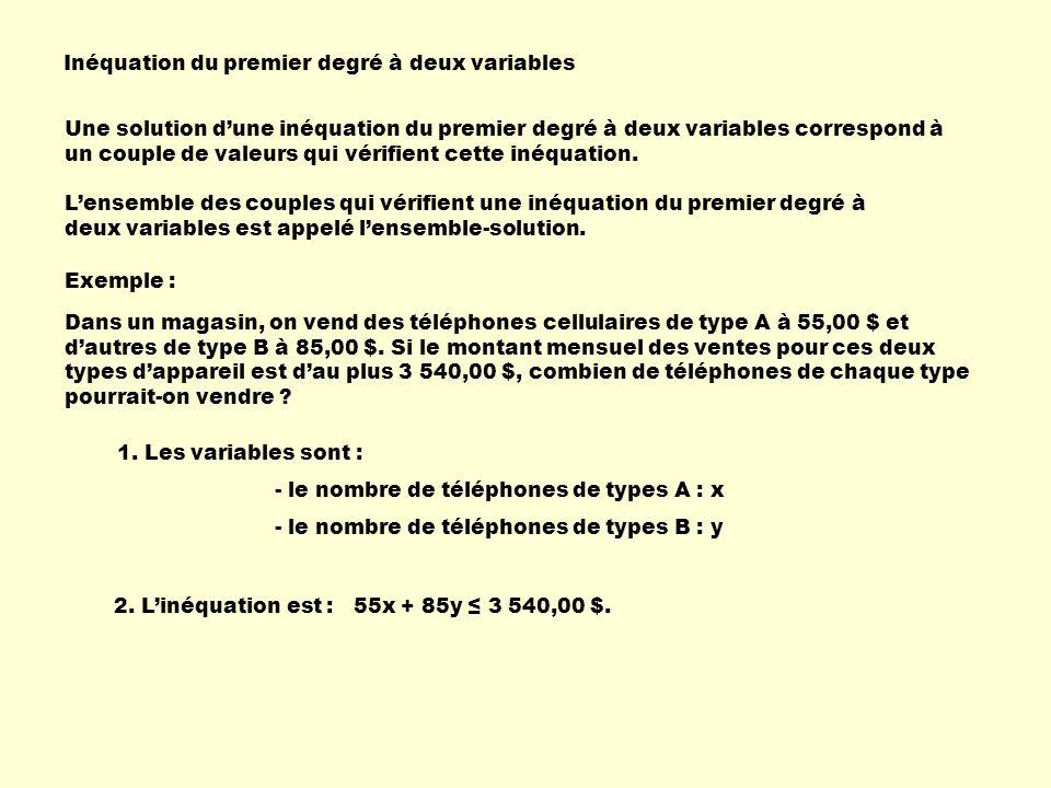 Inéquation du premier degré à deux variables Dans un magasin, on vend des téléphones cellulaires de type A à 55,00 $ et dautres de type B à 85,00 $. S