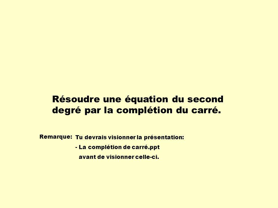 Résoudre une équation du second degré par la complétion du carré. Remarque: Tu devrais visionner la présentation: - La complétion de carré.ppt avant d