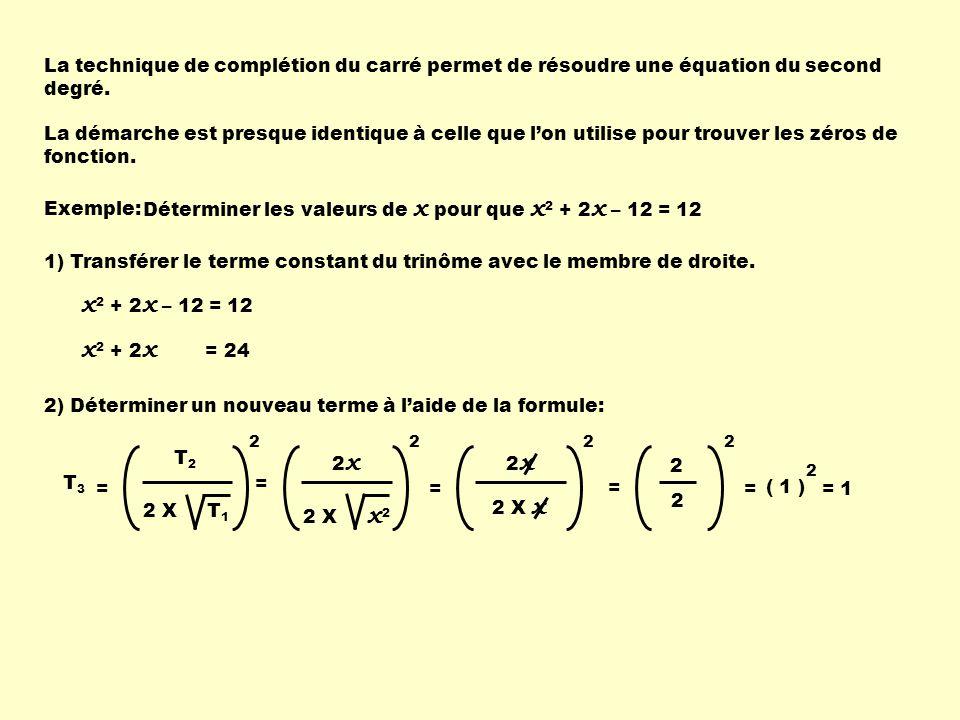 La technique de complétion du carré permet de résoudre une équation du second degré. La démarche est presque identique à celle que lon utilise pour tr