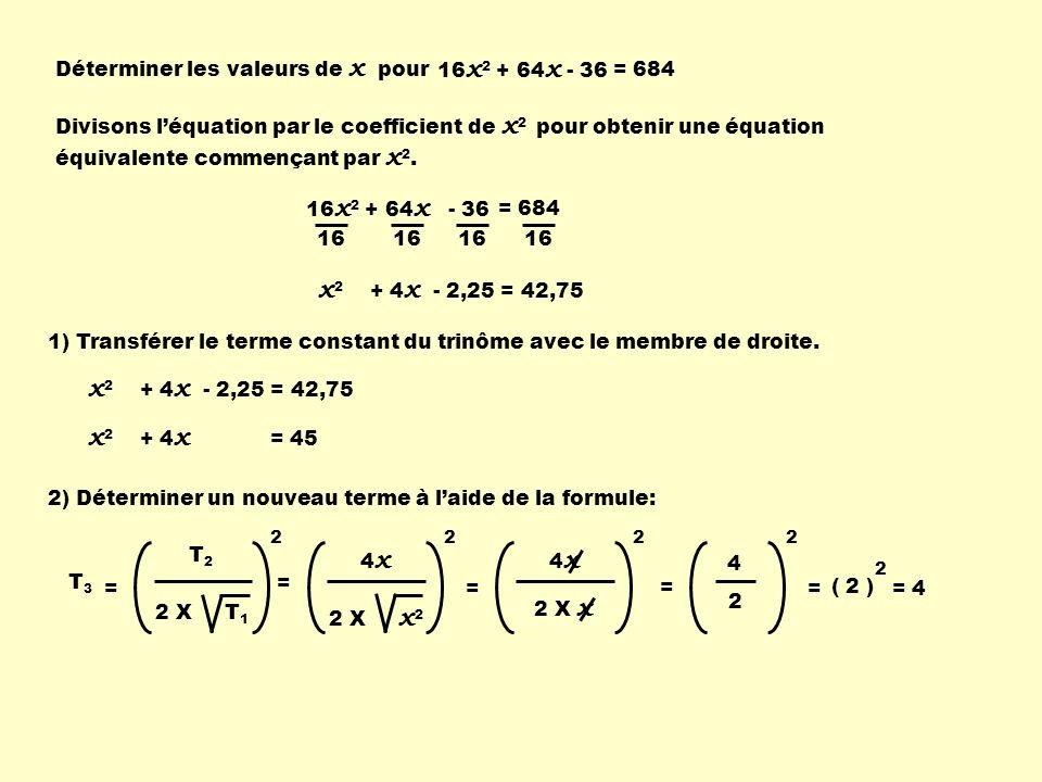 16 x 2 + 64 x - 36 = 684 Déterminer les valeurs de x pour Divisons léquation par le coefficient de x 2 pour obtenir une équation équivalente commençan