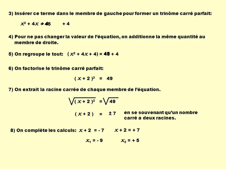 + 4 3) Insérer ce terme dans le membre de gauche pour former un trinôme carré parfait: x 2 + 4 x = 45 4) Pour ne pas changer la valeur de léquation, o