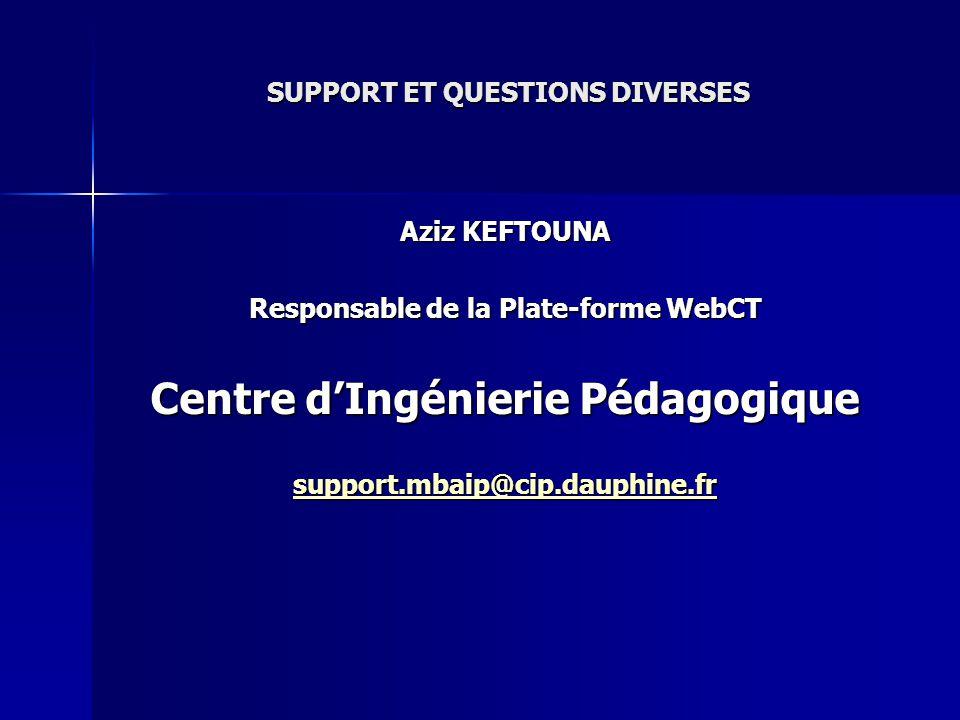 SUPPORT ET QUESTIONS DIVERSES Aziz KEFTOUNA Responsable de la Plate-forme WebCT Centre dIngénierie Pédagogique support.mbaip@cip.dauphine.fr