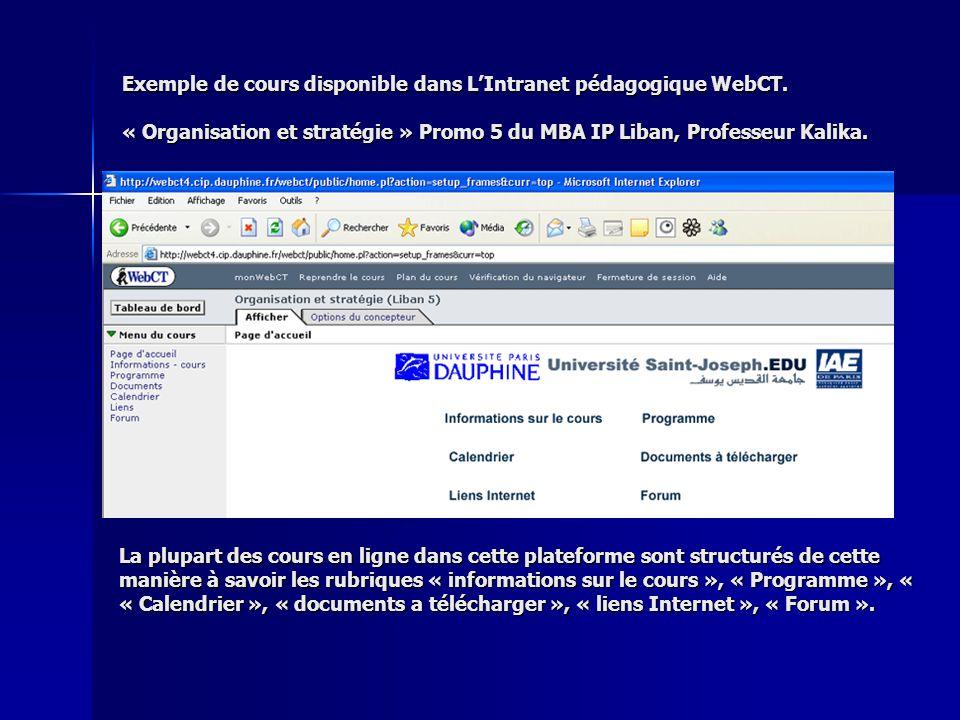 Exemple de cours disponible dans LIntranet pédagogique WebCT. « Organisation et stratégie » Promo 5 du MBA IP Liban, Professeur Kalika. La plupart des