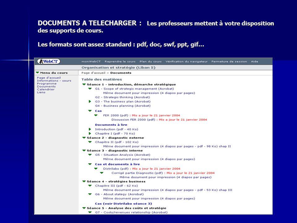DOCUMENTS A TELECHARGER : Les professeurs mettent à votre disposition des supports de cours. Les formats sont assez standard : pdf, doc, swf, ppt, gif