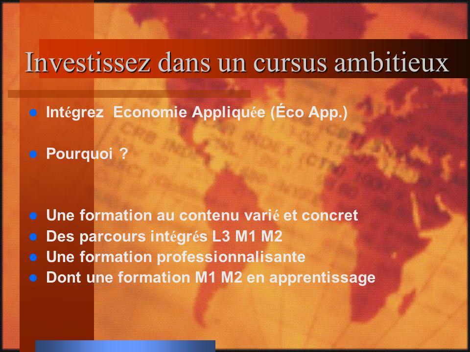 Investissez dans un cursus ambitieux Int é grez Economie Appliqu é e (Éco App.) Pourquoi .