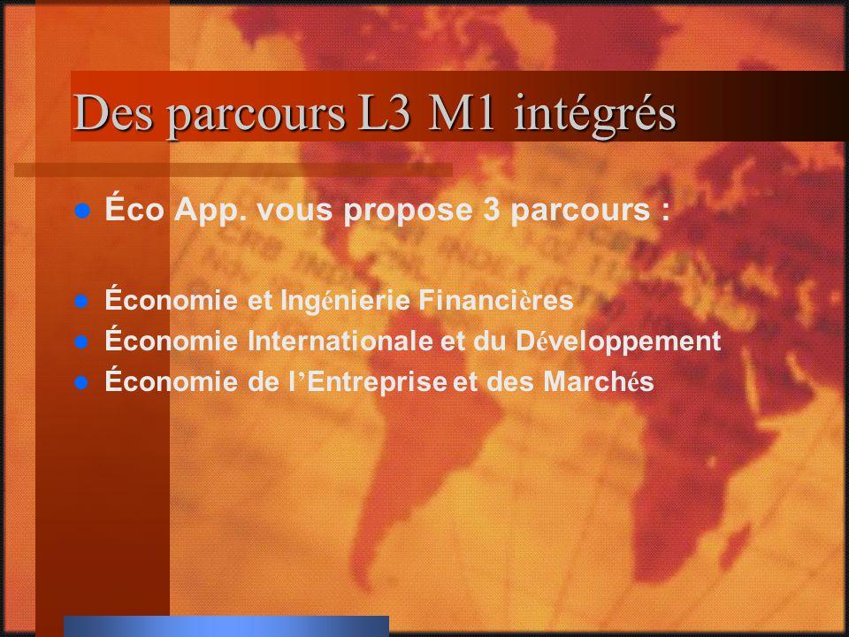 Des parcours L3 M1 intégrés Éco App.