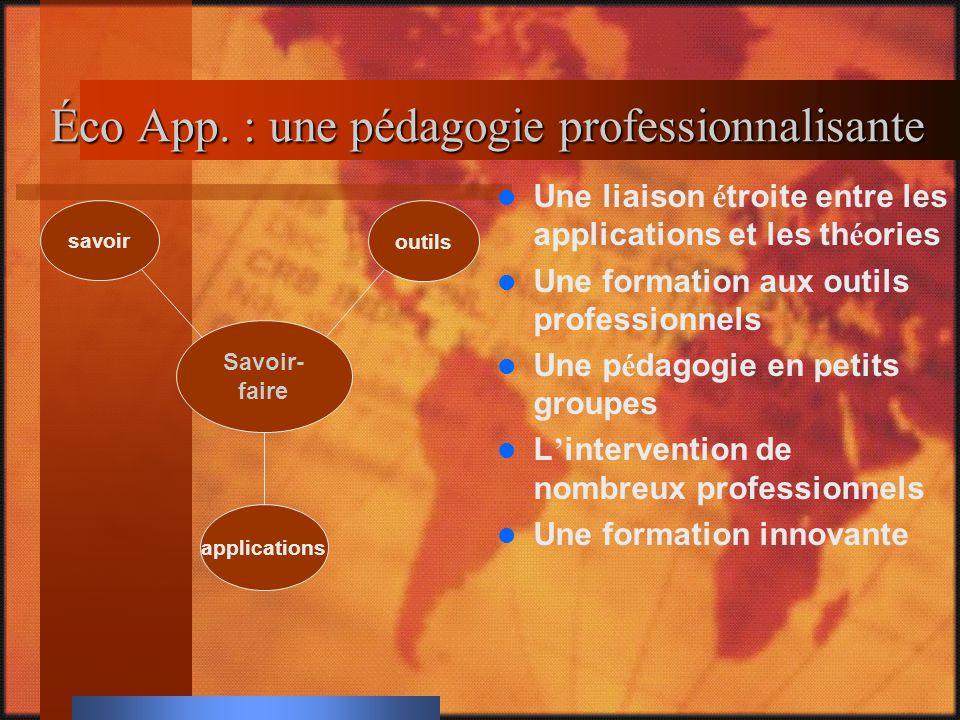 Éco App. : une pédagogie professionnalisante Une liaison étroite entre les applications et les théories Une formation aux outils professionnels Une pé