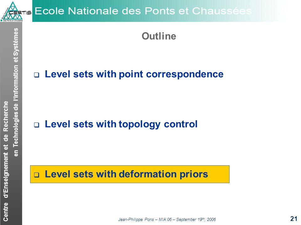 Centre dEnseignement et de Recherche en Technologies de lInformation et Systèmes Jean-Philippe Pons – MIA06 – September 19 th, 2006 21 Outline Level s