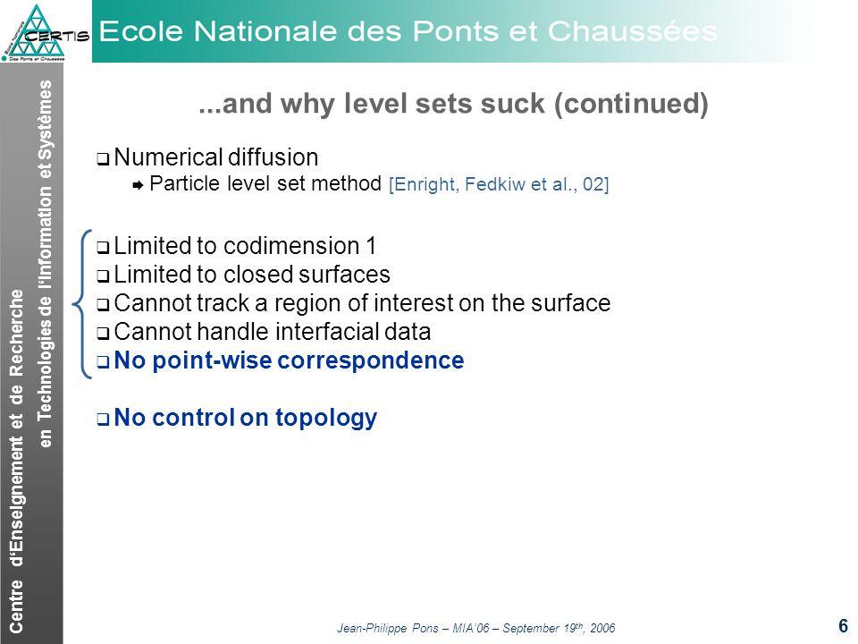 Centre dEnseignement et de Recherche en Technologies de lInformation et Systèmes Jean-Philippe Pons – MIA06 – September 19 th, 2006 6...and why level