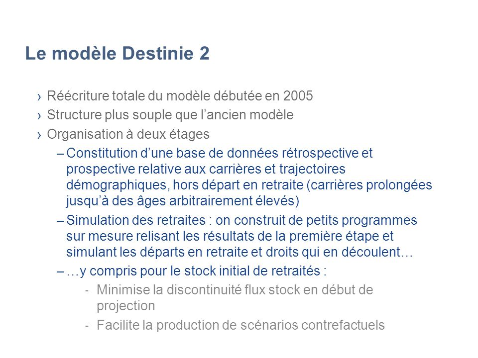 Le modèle Destinie 2 Réécriture totale du modèle débutée en 2005 Structure plus souple que lancien modèle Organisation à deux étages –Constitution dun