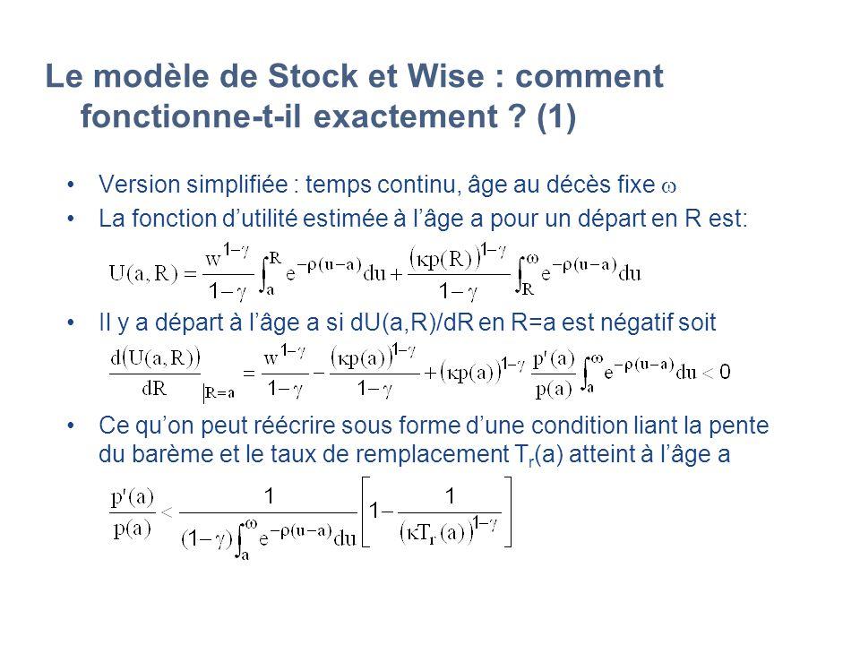 Le modèle de Stock et Wise : comment fonctionne-t-il exactement ? (1) Version simplifiée : temps continu, âge au décès fixe La fonction dutilité estim
