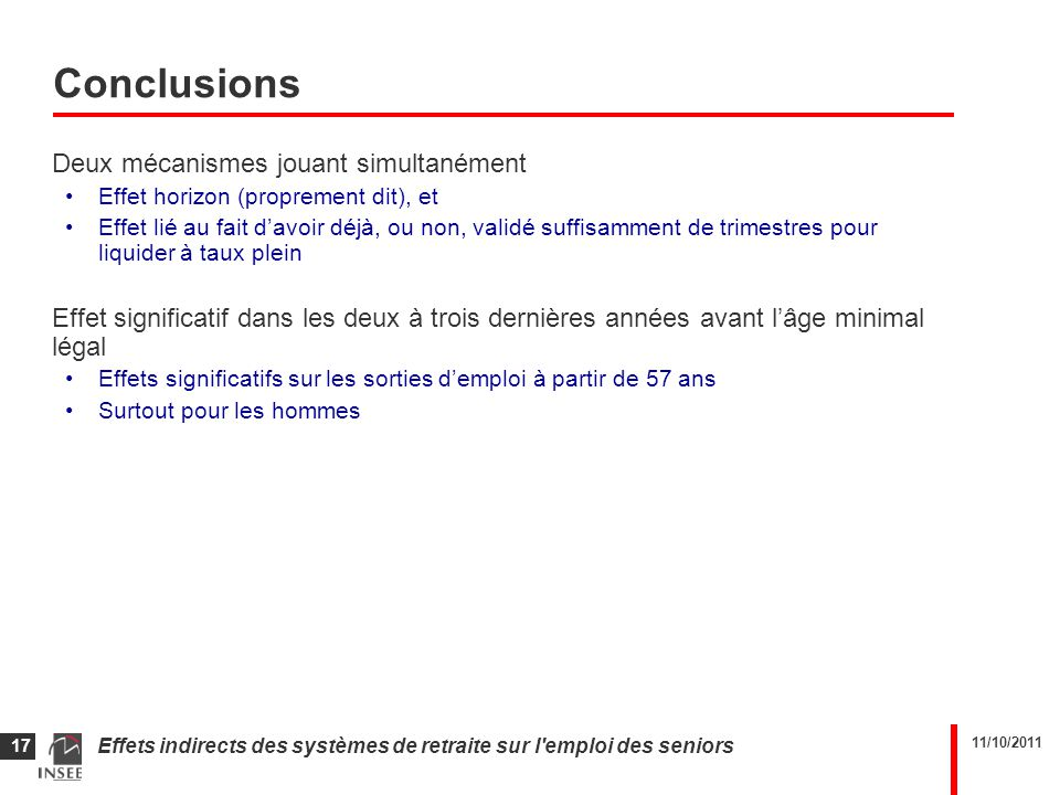 11/10/2011 Effets indirects des systèmes de retraite sur l'emploi des seniors 17 Conclusions Deux mécanismes jouant simultanément Effet horizon (propr