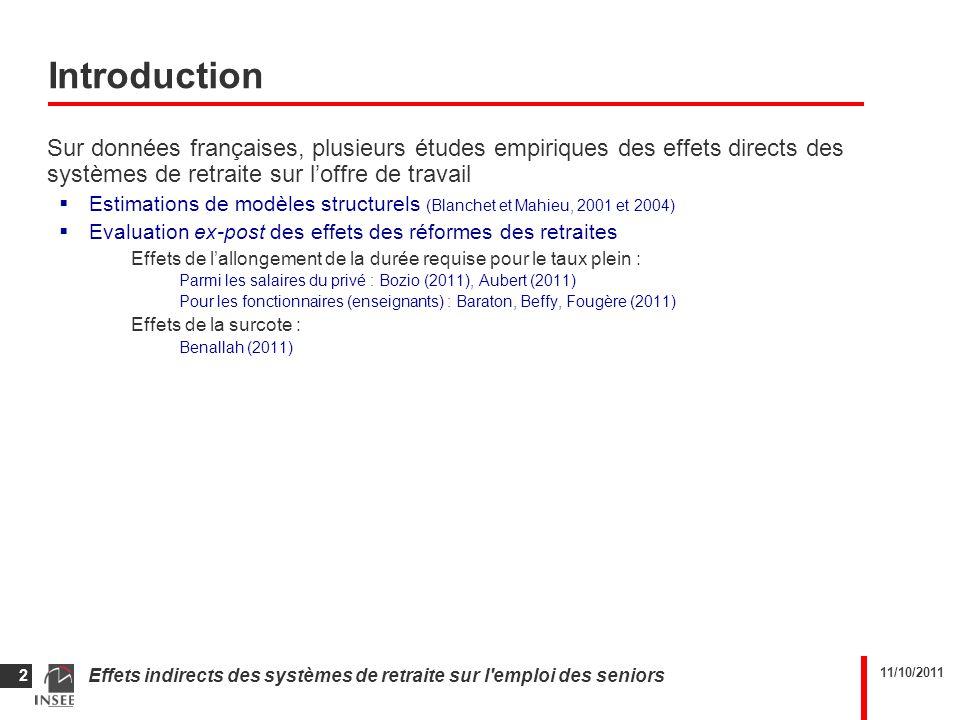 11/10/2011 Effets indirects des systèmes de retraite sur l emploi des seniors 2 Introduction Sur données françaises, plusieurs études empiriques des effets directs des systèmes de retraite sur loffre de travail Estimations de modèles structurels (Blanchet et Mahieu, 2001 et 2004) Evaluation ex-post des effets des réformes des retraites Effets de lallongement de la durée requise pour le taux plein : Parmi les salaires du privé : Bozio (2011), Aubert (2011) Pour les fonctionnaires (enseignants) : Baraton, Beffy, Fougère (2011) Effets de la surcote : Benallah (2011)