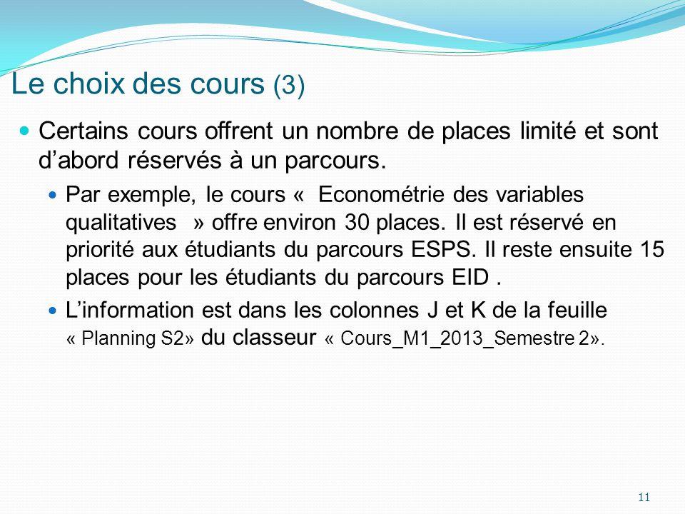 Le choix des cours (3) Certains cours offrent un nombre de places limité et sont dabord réservés à un parcours. Par exemple, le cours « Econométrie de