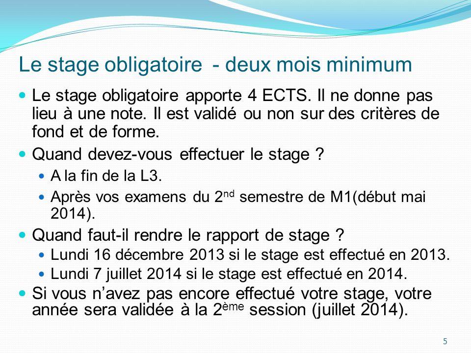 Le stage obligatoire - deux mois minimum Le stage obligatoire apporte 4 ECTS. Il ne donne pas lieu à une note. Il est validé ou non sur des critères d