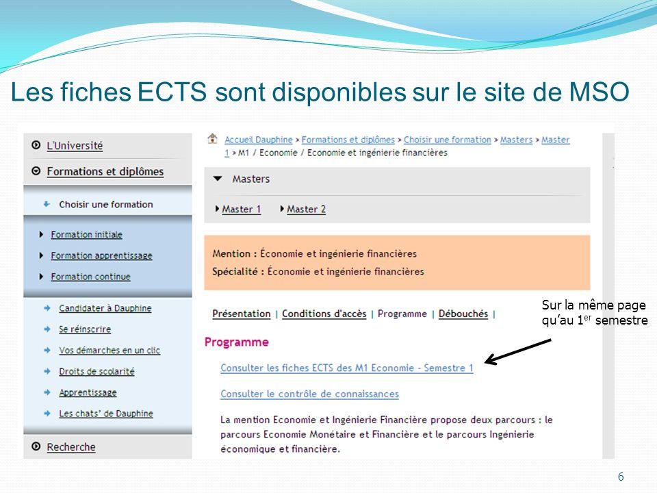 Les fiches ECTS sont disponibles sur le site de MSO 6 Sur la même page quau 1 er semestre