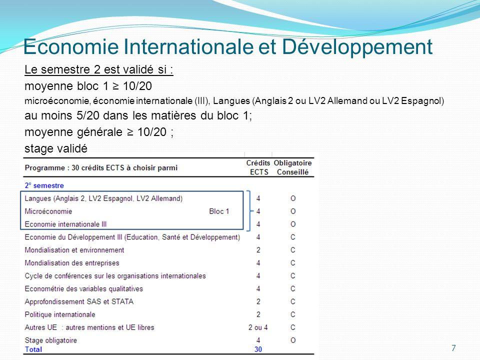 Economie Internationale et Développement 7 Le semestre 2 est validé si : moyenne bloc 1 10/20 microéconomie, économie internationale (III), Langues (A