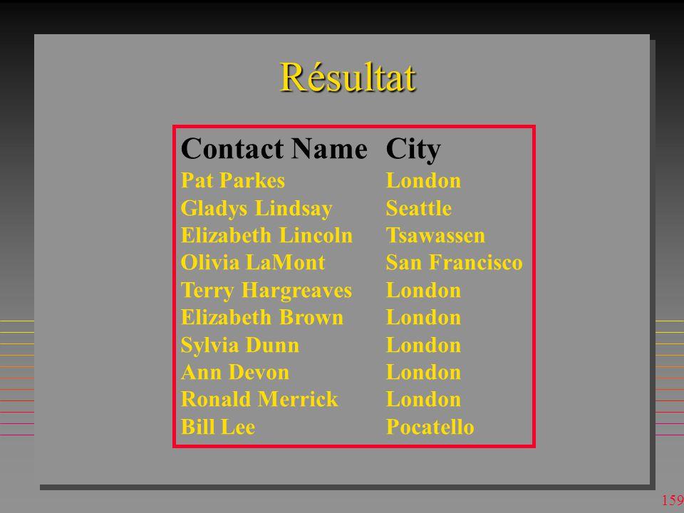 158 Requêtes Multibases (MDB) MsAccess n On peut ouvrir une BD et faire les requêtes à d autres BDs –il faut définir des aliases dans FROM n Base ouverte s appelle s-p07.mdb –mais ce nom n a pas d importance ici n Jointure de tables dans deux bases externes à s-p07.mdb SELECT TOP 10 C.[Contact Name], C.City FROM [c:\access\nwind2.mdb].Customers AS C, [c:\access\ordentr2.mdb].customers AS O WHERE (o.Id= C.[customer Id]);