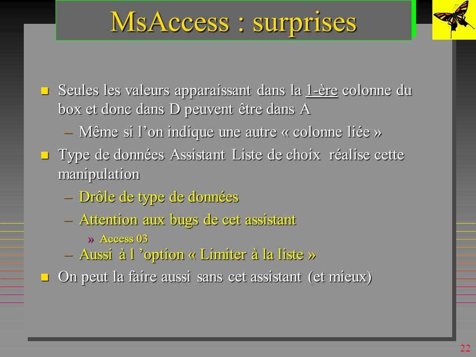21 MsAccess : domaines n On peut les simuler (en QBE) par : –une table D source de valeurs »table de la base ou une liste de valeurs –une zone de texte ou zone de texte modifiable sur lattribut A à valeurs dans D »déclaré dans la définition de A (partie Liste de choix) –une requête déclarée dans la définition de A (dans « contenu » )