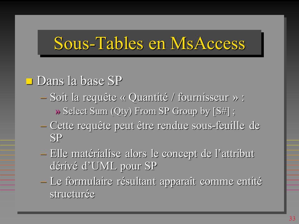 32 Sous-Tables en MsAccess n Dans la base SP –Table SP est automatiquement la sous-table de S –Table S peut être choisie manuellement comme sous-table de SP »Avec le champs père SP.S# et champs fils S.S# –Suggérés par MsAccess –Les liens S -> SP -> S sont alors transitifs