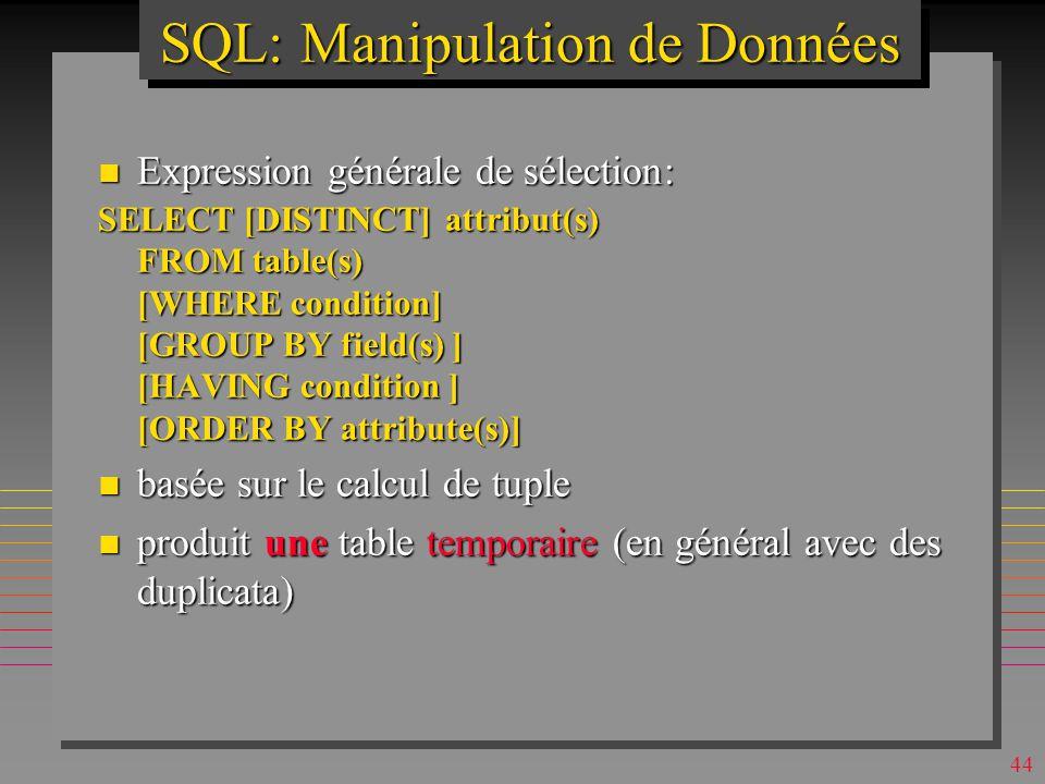 43 SQLSQL n Inventé à IBM San Jose, 1974 (Boyce & Chamberlin) pour System R n Basé sur le calcul de tuple & algèbre relationnelle n relationnellement complet (et plus) n Le langage de SGBD relationnels n En évolution contrôlée par ANSI (SQL1, 2, 3...) n Il existe aussi plusieurs dialectes n Les possibilités basiques sont simples n Celles avancées peuvent être fort complexes –Signalées dans ce qui suit par « Maillot Jaune »