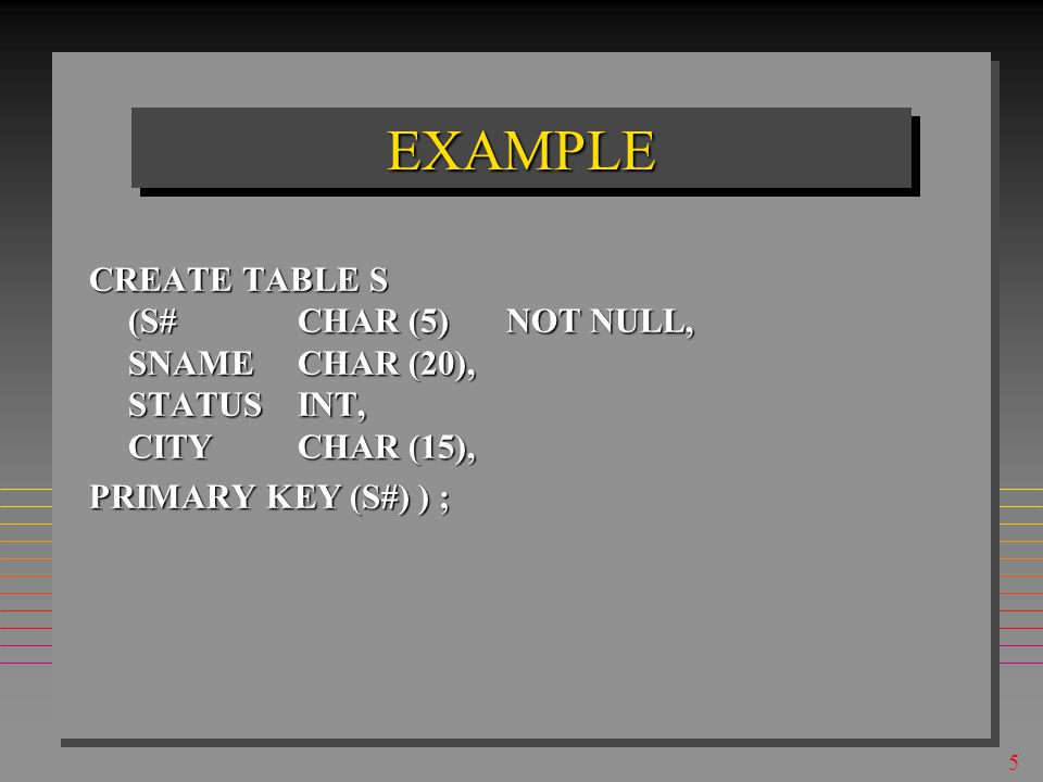 5 EXAMPLEEXAMPLE CREATE TABLE S (S# CHAR (5)NOT NULL, SNAME CHAR (20), STATUSINT, CITYCHAR (15), PRIMARY KEY (S#) ) ;