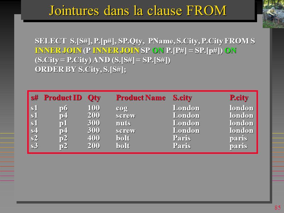 84 n Possibilité nouvelle dans SQL2 (et MsAccess) n Prévue dans le nouvel SQL standard –SQL-2 n Permet de standardiser la formulation de jointures externes –On les verra plus tard n Permet aussi de fixer explicitement lordre de jointures –Pour optimiser la requête Jointures dans la clause FROM