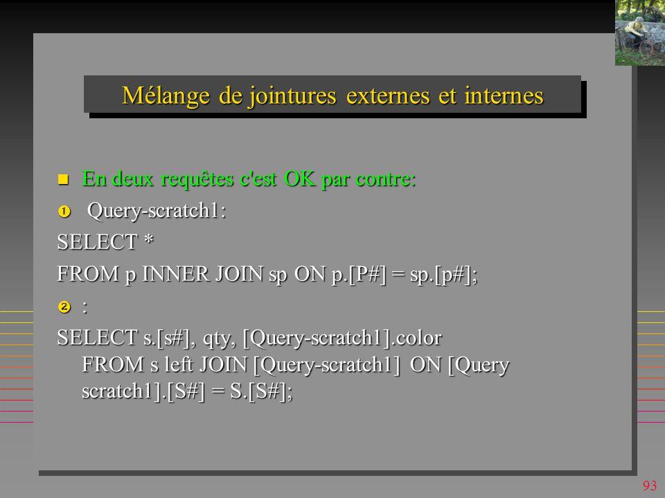 92 Mélange de jointures externes et internes Explosif (sous MsAccess surtout): Explosif (sous MsAccess surtout): OK: OK: SELECT sP.Qty, s.[S#], s.City, sP.[p#] FROM s RIGHT JOIN (p INNER JOIN sP ON p.[P#] = sP.[p#]) ON sP.[S#] = s.[S#]; interdit : interdit : SELECT sP.Qty, s.[S#], s.City, sP.[p#] FROM s LEFT JOIN (p INNER JOIN sP ON p.[P#] = sP.[p#]) ON sP.[S#] = s.[S#];