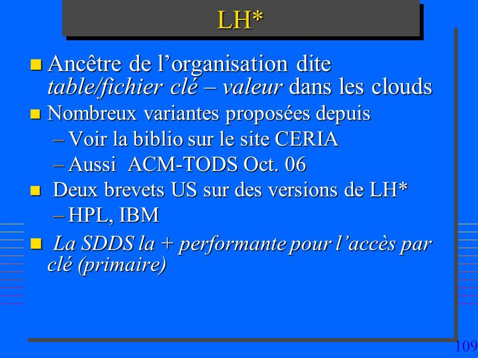 109LH*LH* n Ancêtre de lorganisation dite table/fichier clé – valeur dans les clouds n Nombreux variantes proposées depuis –Voir la biblio sur le site