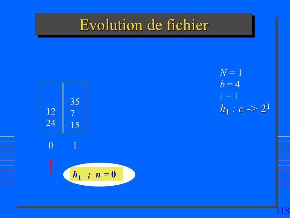 118 Evolution de fichier 12 24 h 1 ; n = 0 N = 1 b = 4 i = 1 h 1 : c -> 2 1 0 35 7 15 1