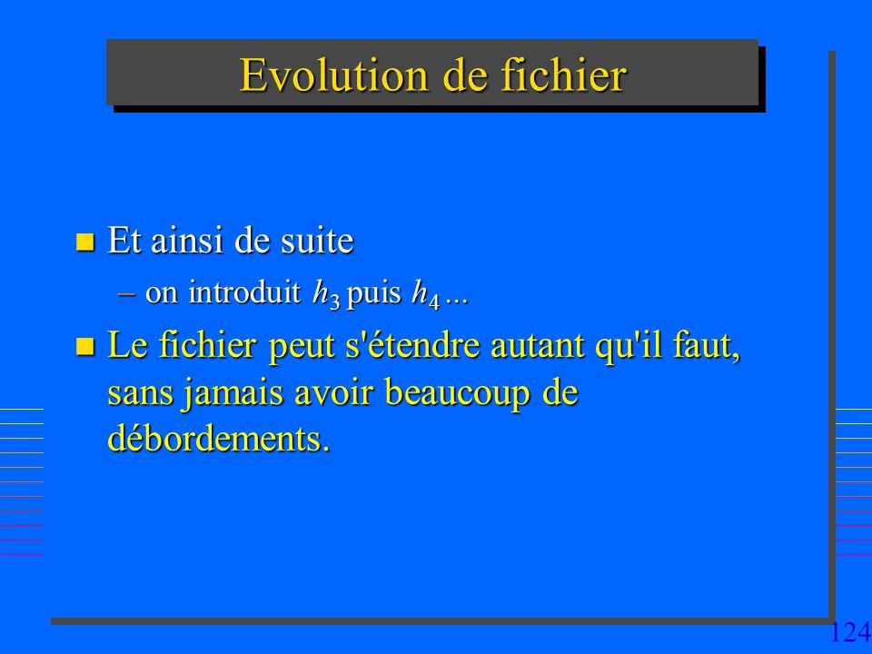 124 Evolution de fichier n Et ainsi de suite –on introduit h 3 puis h 4... n Le fichier peut s'étendre autant qu'il faut, sans jamais avoir beaucoup d