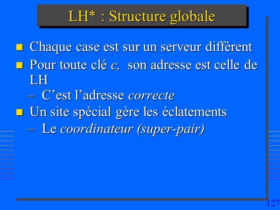 127 LH* : Structure globale n Chaque case est sur un serveur diffèrent n Pour toute clé c, son adresse est celle de LH –Cest ladresse correcte n Un site spécial gère les éclatements –Le coordinateur (super-pair)