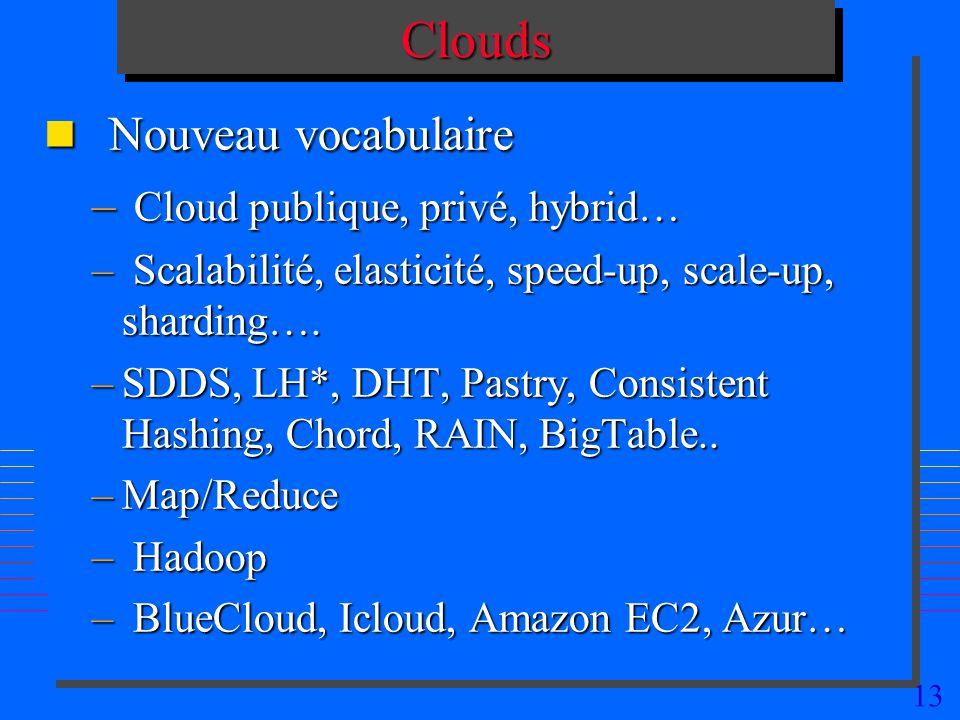 13CloudsClouds n Nouveau vocabulaire – Cloud publique, privé, hybrid… – Scalabilité, elasticité, speed-up, scale-up, sharding…. –SDDS, LH*, DHT, Pastr