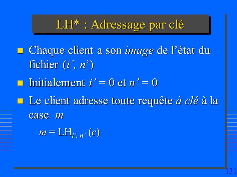 131 LH* : Adressage par clé n Chaque client a son image de létat du fichier (i, n) n Initialement i = 0 et n = 0 n Le client adresse toute requête à clé à la case m m = LH i, n (c)