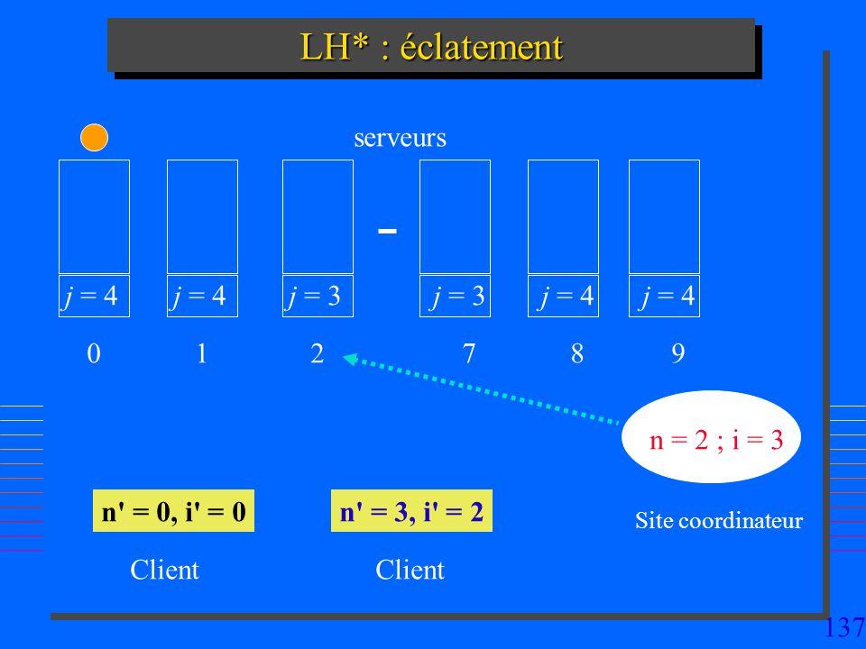 137 LH* : éclatement j = 4 0 1 j = 3 2 7 j = 4 8 9 n = 2 ; i = 3 n' = 0, i' = 0n' = 3, i' = 2 Site coordinateur Client serveurs