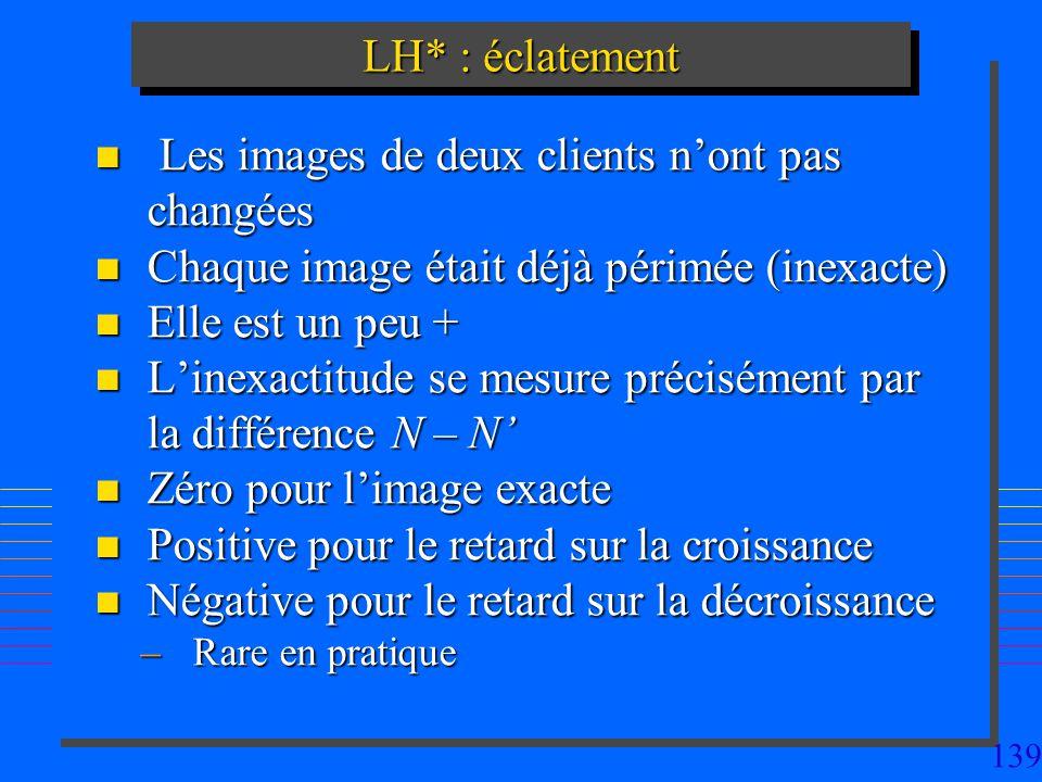 139 n Les images de deux clients nont pas changées n Chaque image était déjà périmée (inexacte) n Elle est un peu + n Linexactitude se mesure précisém