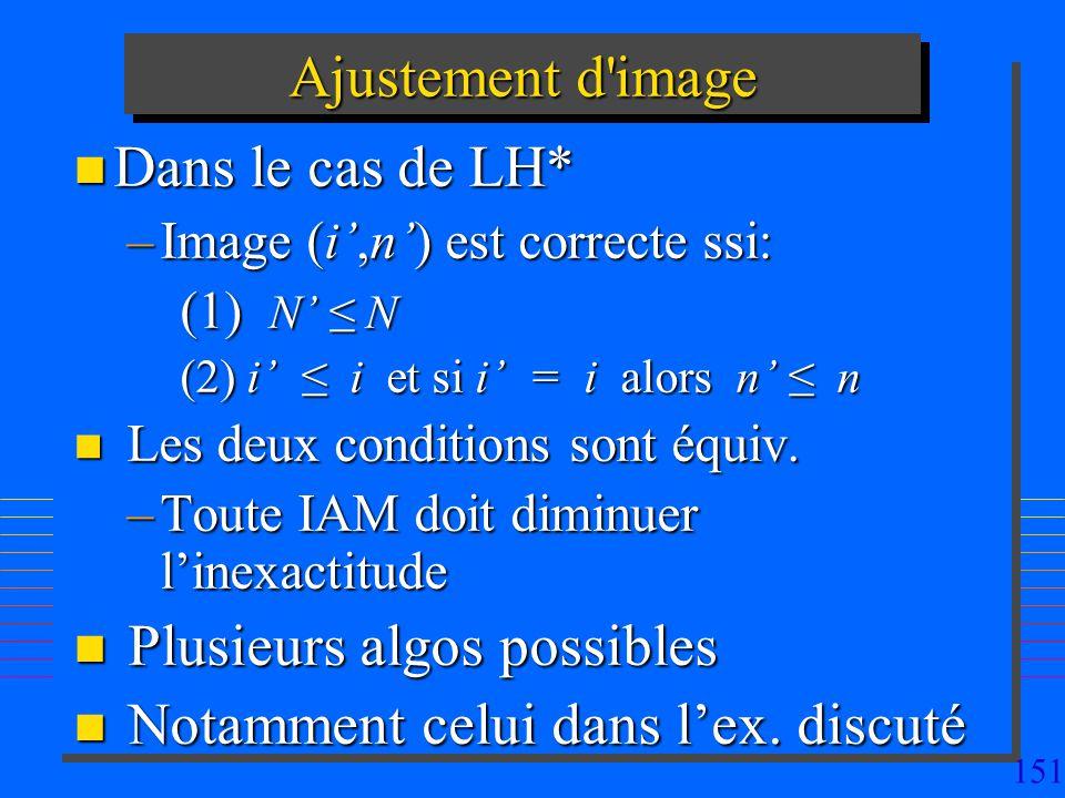 151 Ajustement d image n Dans le cas de LH* –Image (i,n) est correcte ssi: (1) N N (2) i i et si i = i alors n n n Les deux conditions sont équiv.