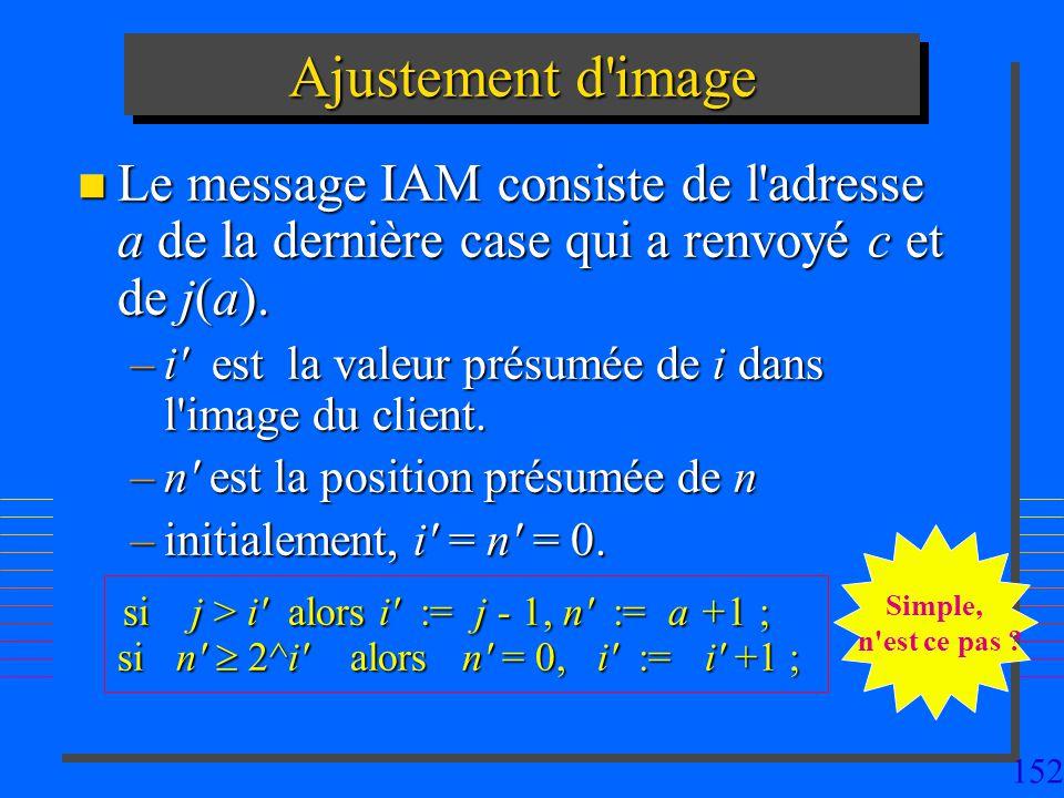 152 Ajustement d'image n Le message IAM consiste de l'adresse a de la dernière case qui a renvoyé c et de j(a). –i' est la valeur présumée de i dans l